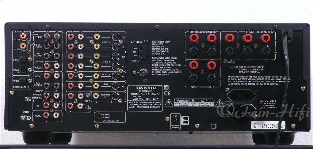 Pioneer Av Receiver >> Onkyo TX-DS777 THX-Select Dolby Digital DTS AV Receiver