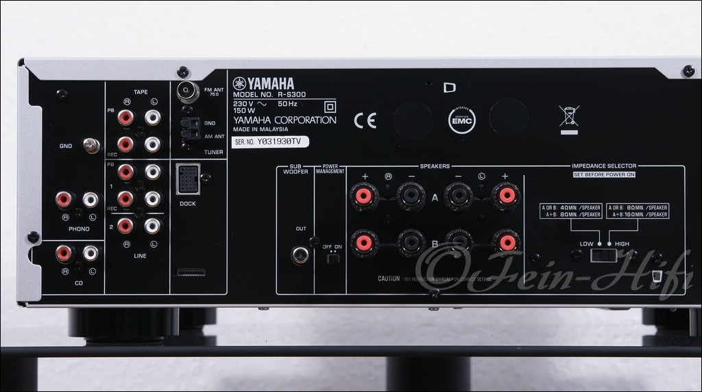 yamaha r s300 stereo 2 1 receiver silber fein hifi shop. Black Bedroom Furniture Sets. Home Design Ideas